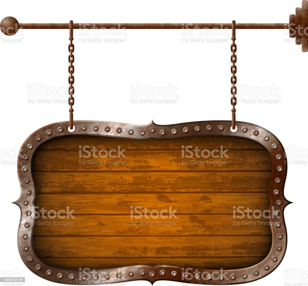 Wooden and metallic aged signboard vector art illustration