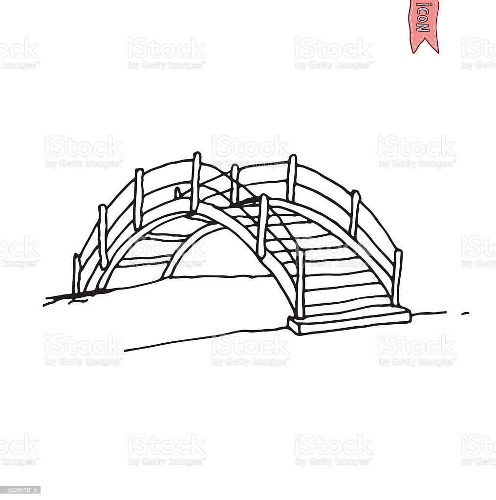 wooden arch bridge, vector illustration. vector art illustration