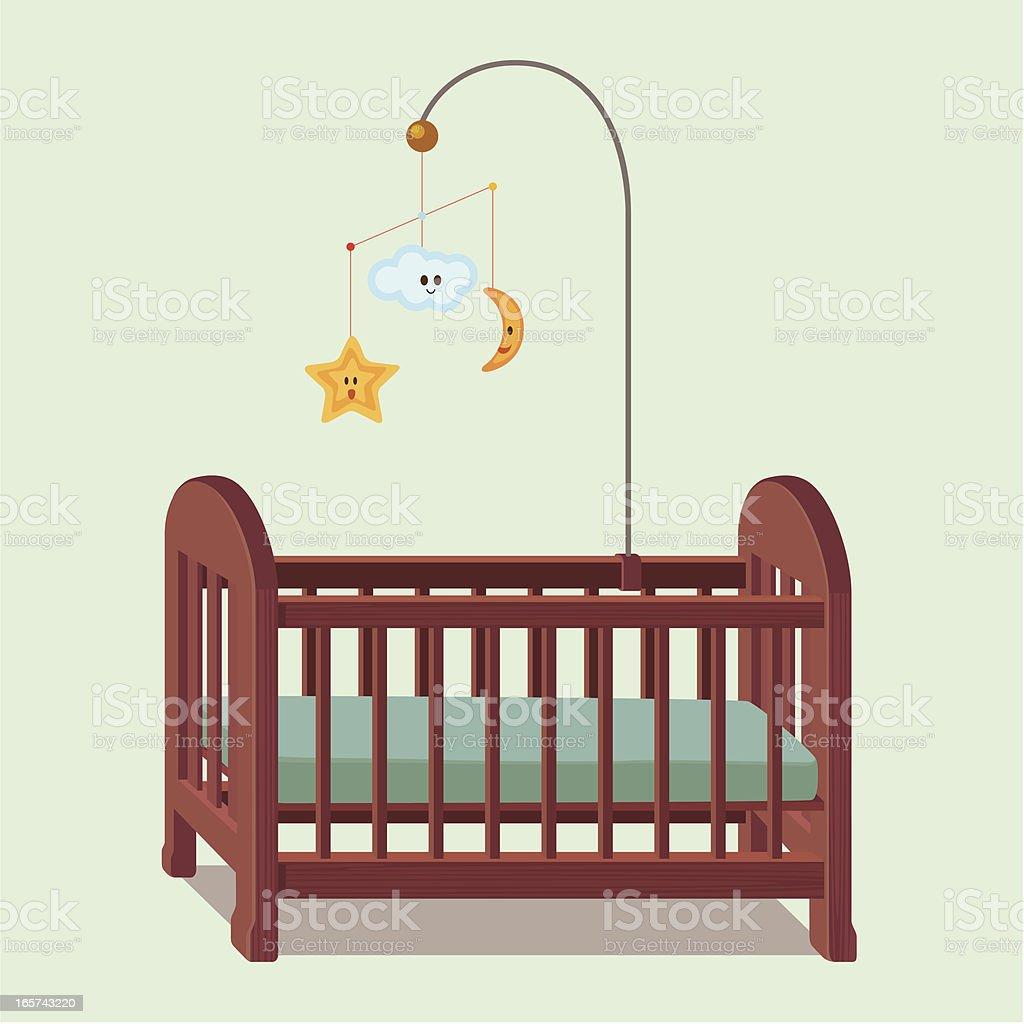 wooden baby crib vector art illustration