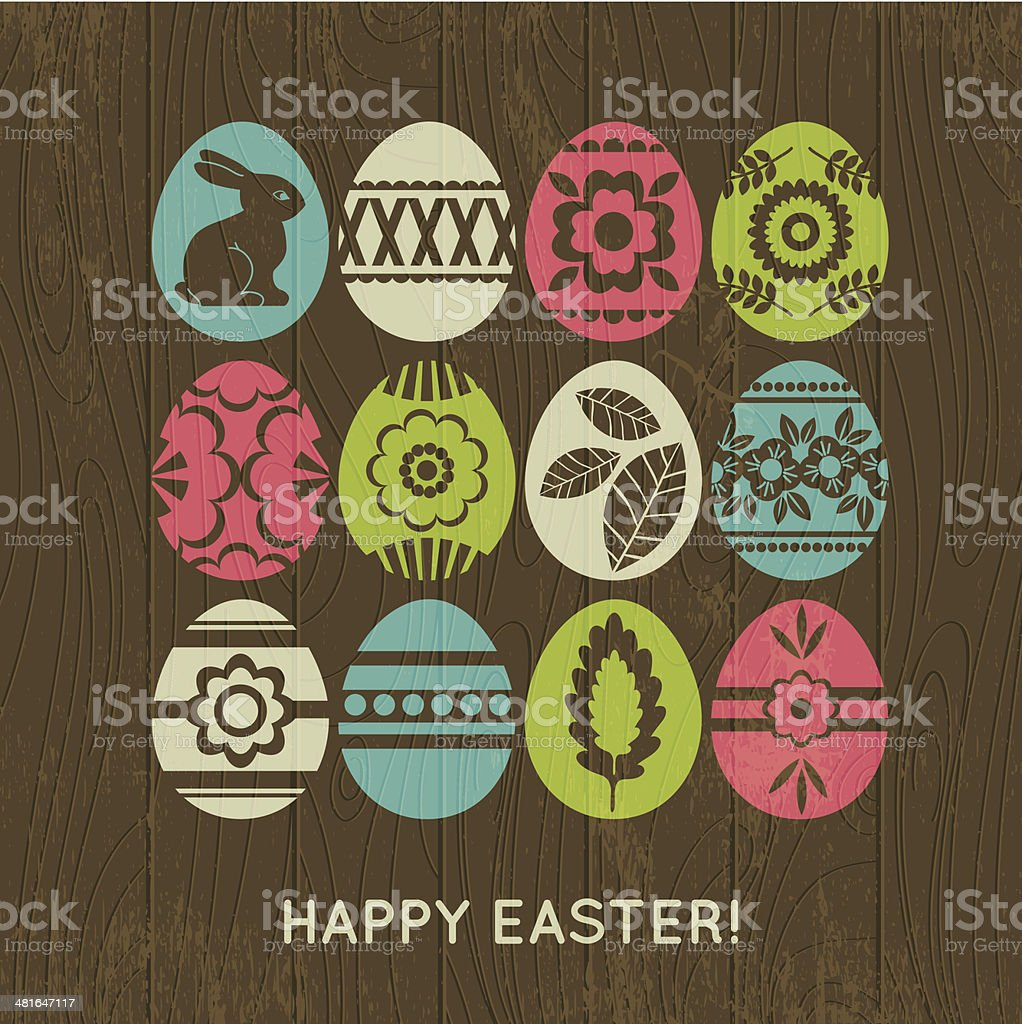 wooden background with color easter eggs vector art illustration