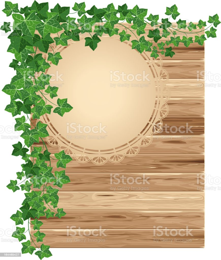 Wooden background with ivy cascading down vector art illustration