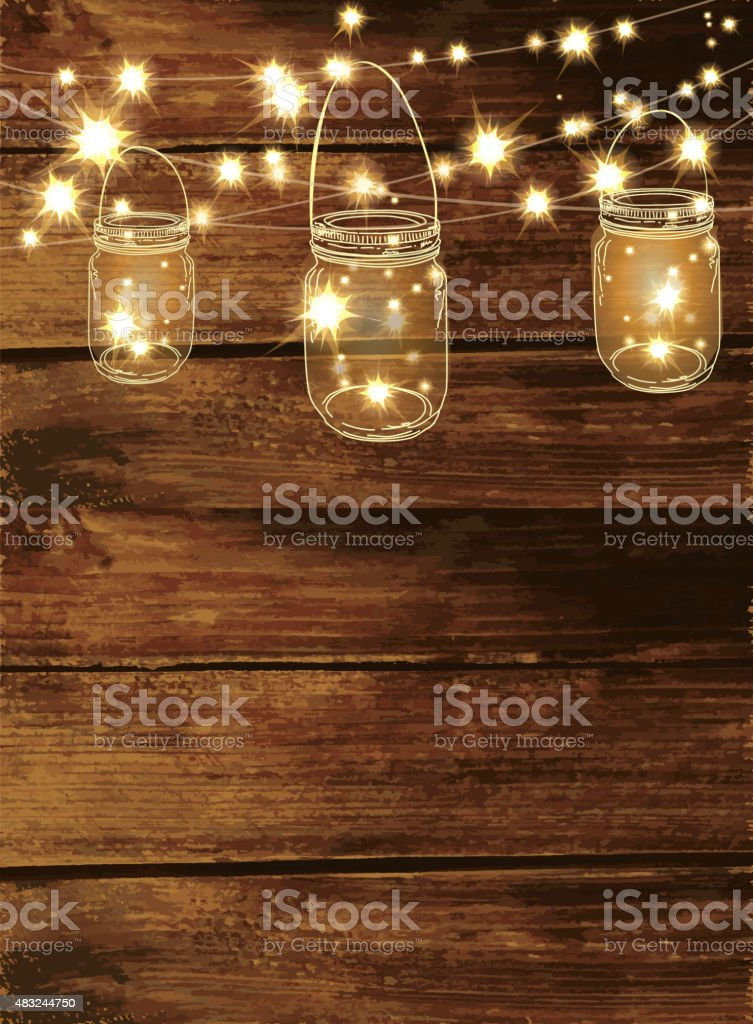 Country and western invitation design template jar and string lights vector art illustration