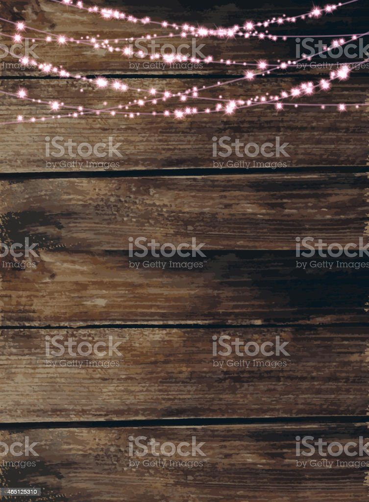 Wooden background with pink string lights vector art illustration