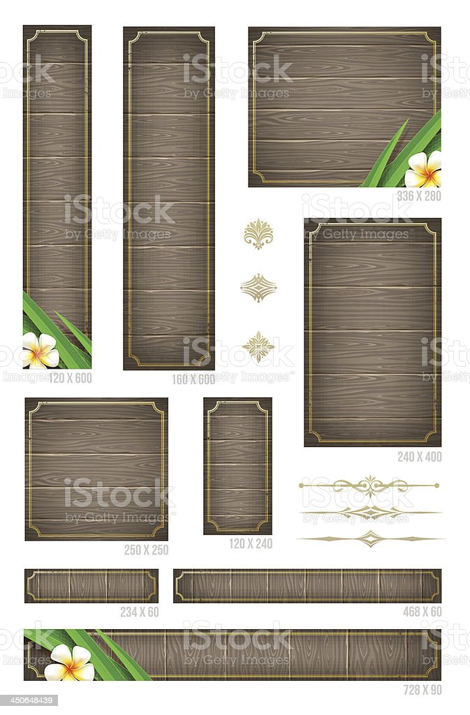 Wooden backgrounds with tropical flowers and decorative elements royalty-free stock vector art