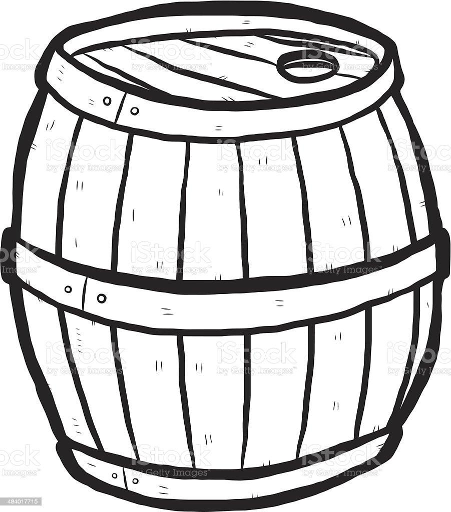 wooden barrel cartoon hand drawn vector art illustration