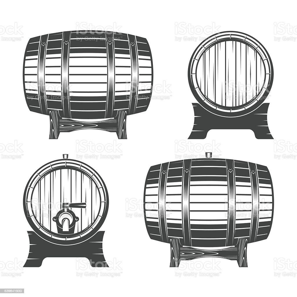 Wooden barrel set vector art illustration