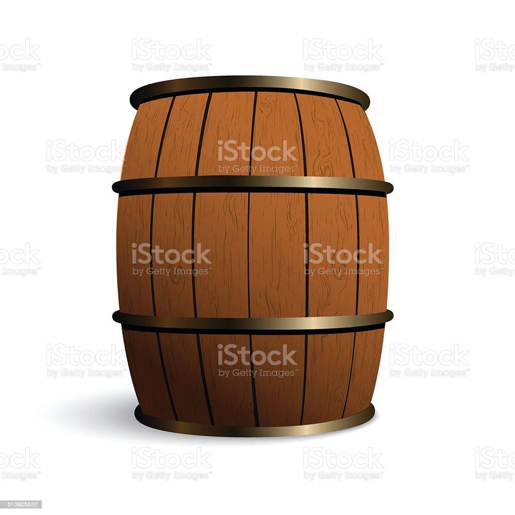 Wooden barrel vector art illustration