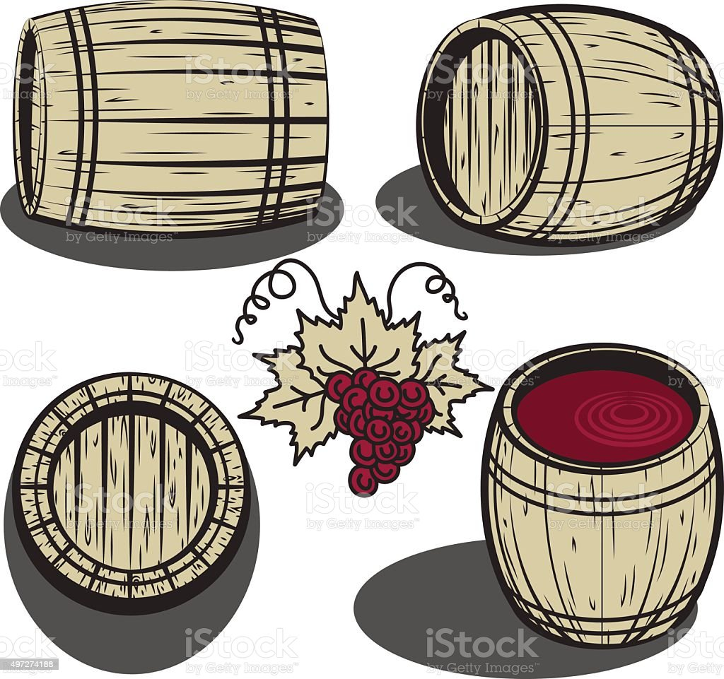 Wooden barrels vector art illustration