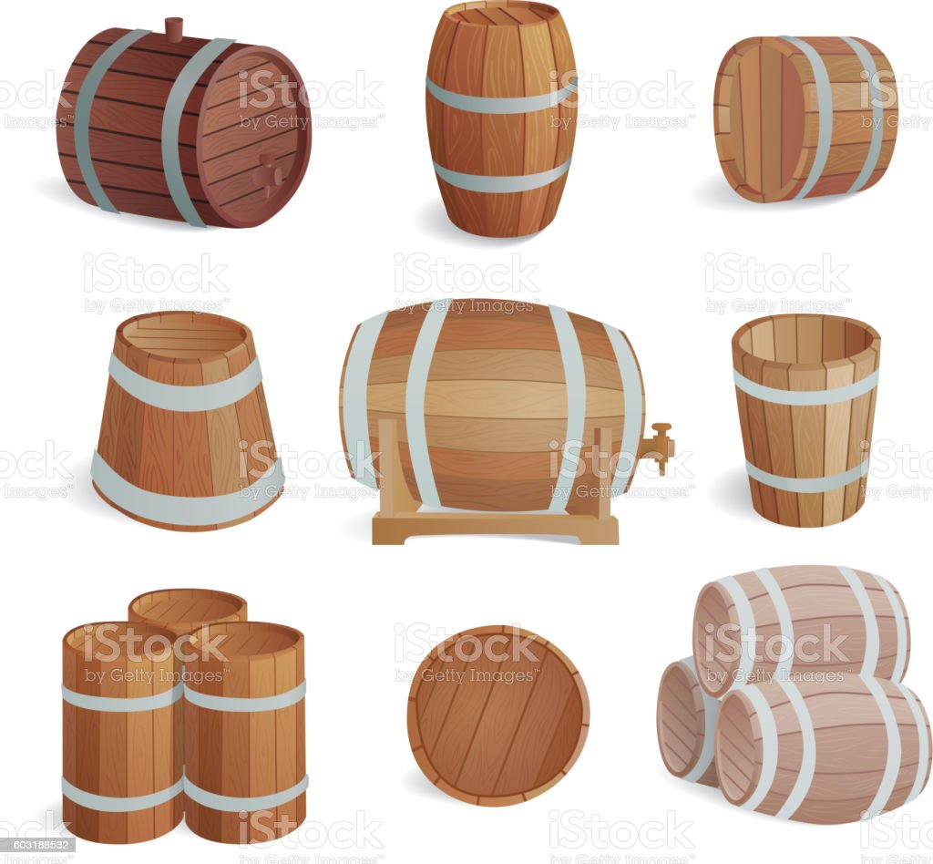 Wooden barrels vector set. vector art illustration