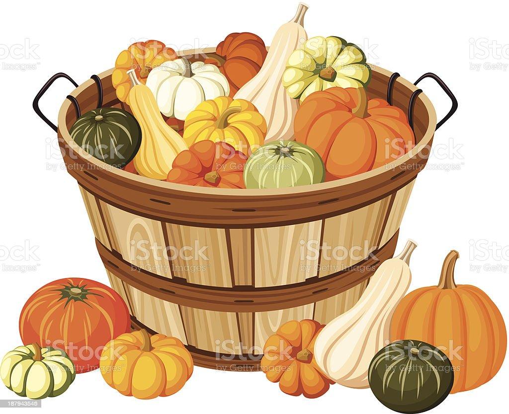Wooden basket with pumpkins. Vector illustration. vector art illustration