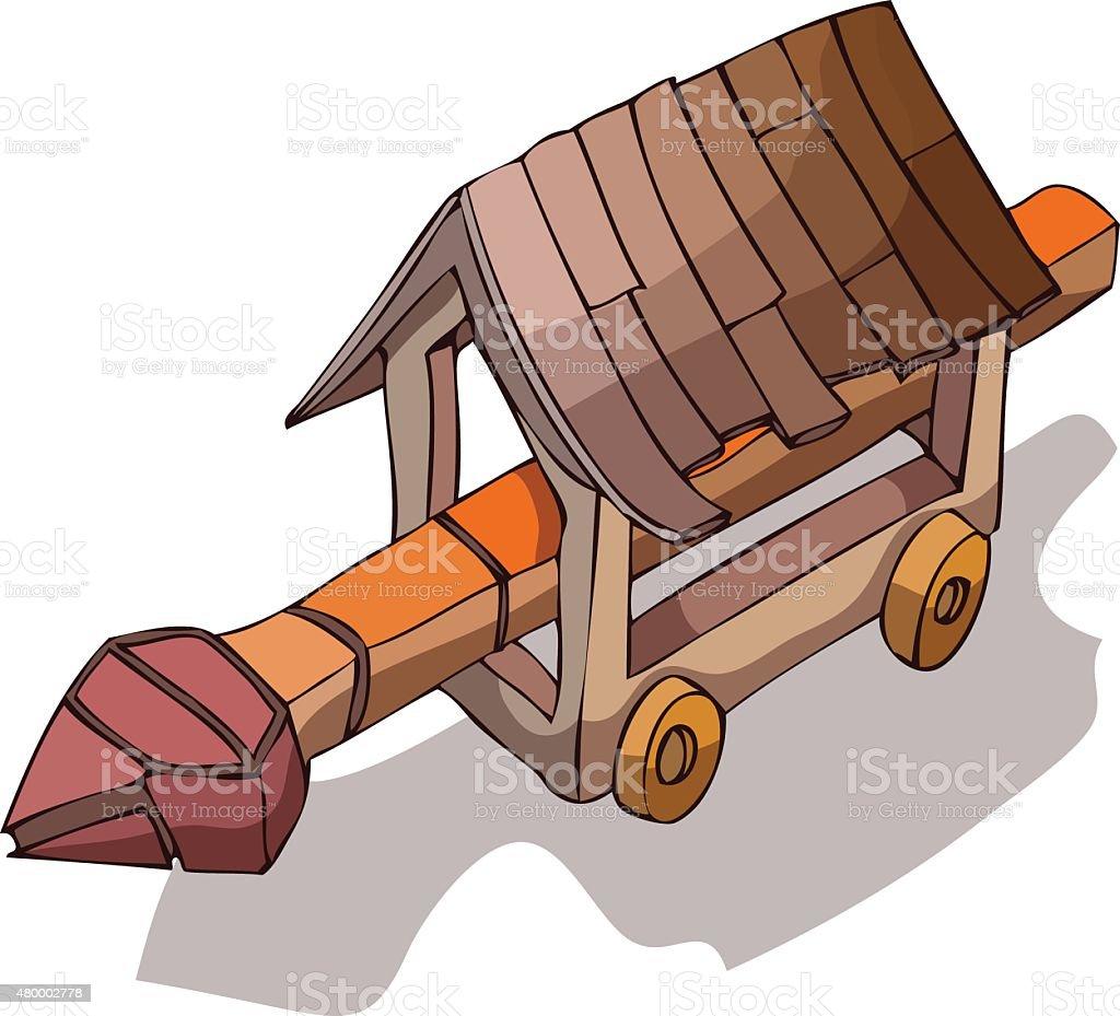 Wooden Battering Ram, Vector Illustration. vector art illustration