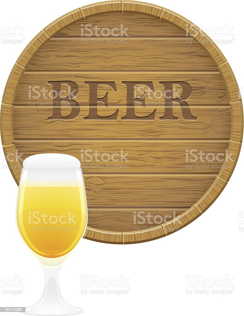 wooden beer barrel and glass vector EPS10 illustration royalty-free stock vector art