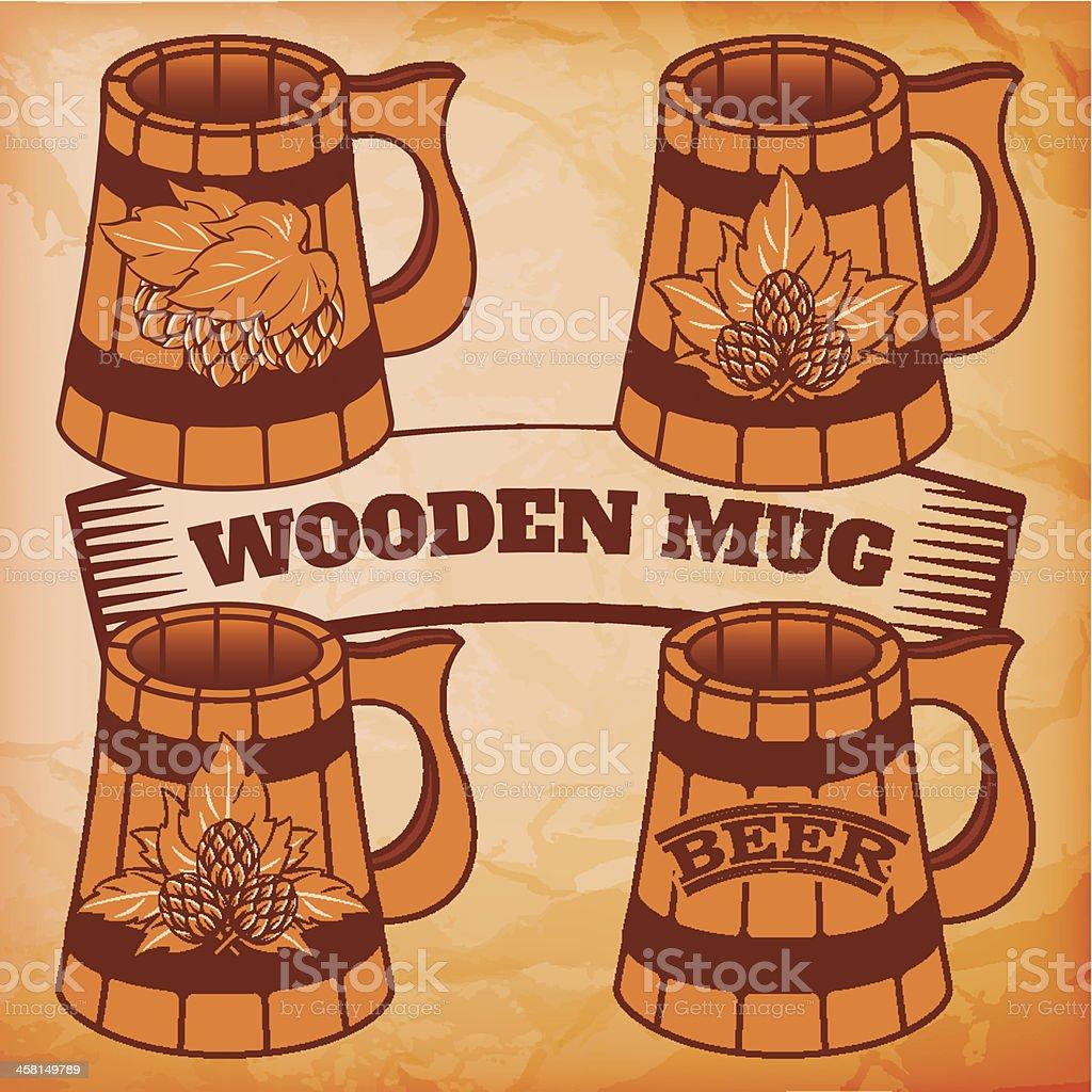 wooden beer mug royalty-free stock vector art