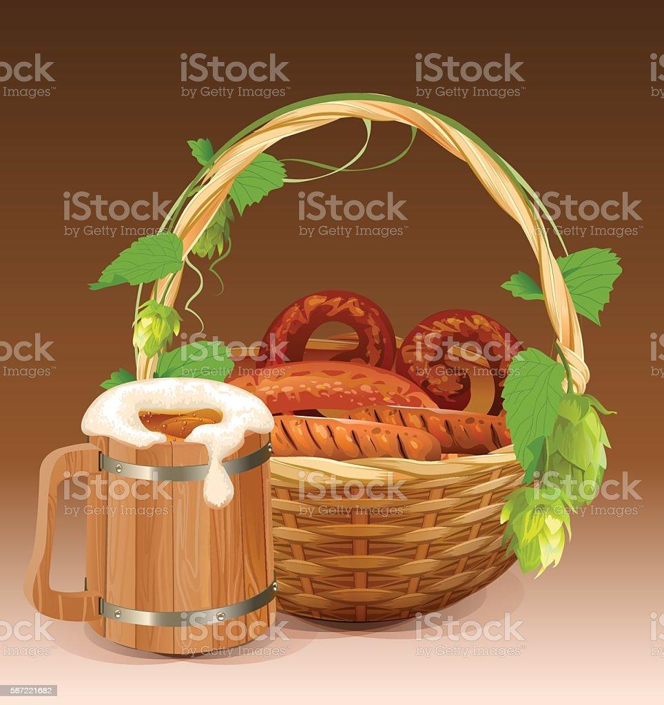 Wooden beer mug. Wicker basket with pretzels and grilled sausages vector art illustration