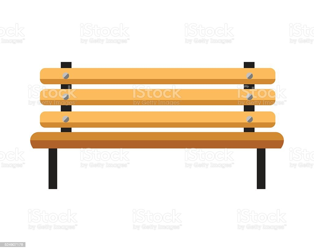 Wooden bench. Isolated on white background vector art illustration