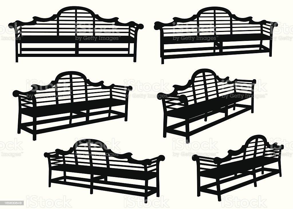 Wooden Bench Vector Silhouette royalty-free stock vector art