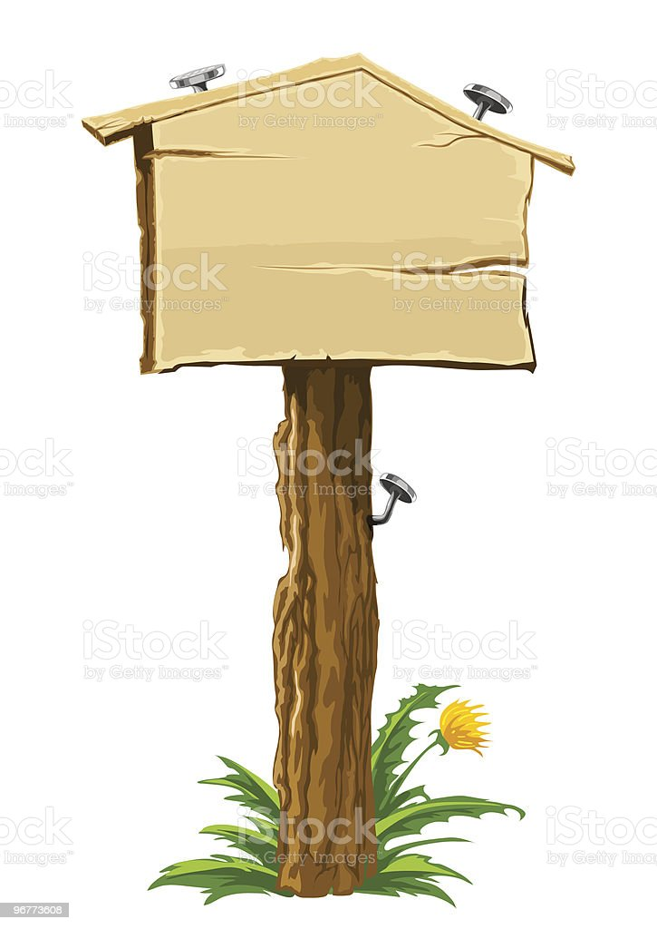 wooden blank sign house for sale royalty-free stock vector art