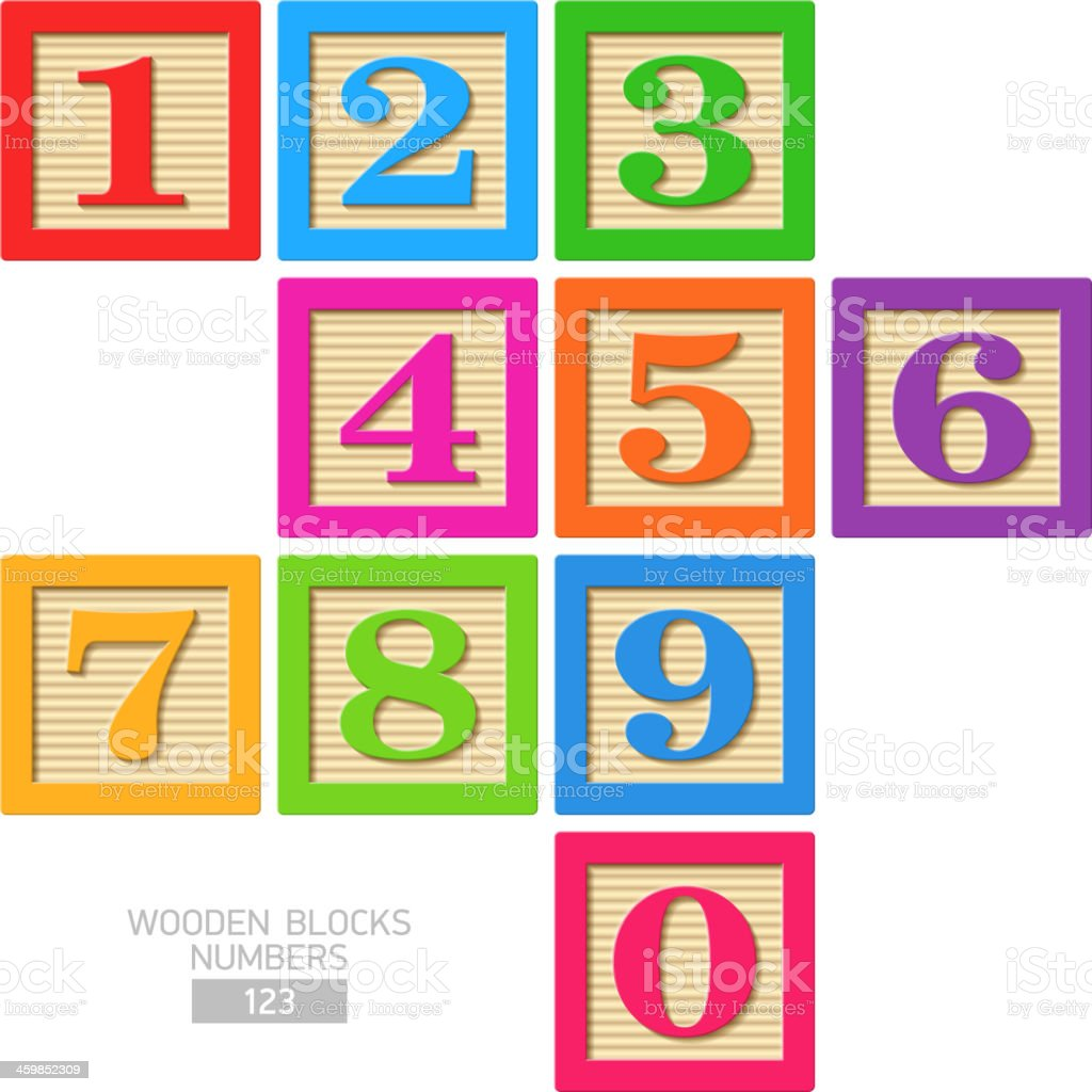 Wooden blocks - numbers vector art illustration
