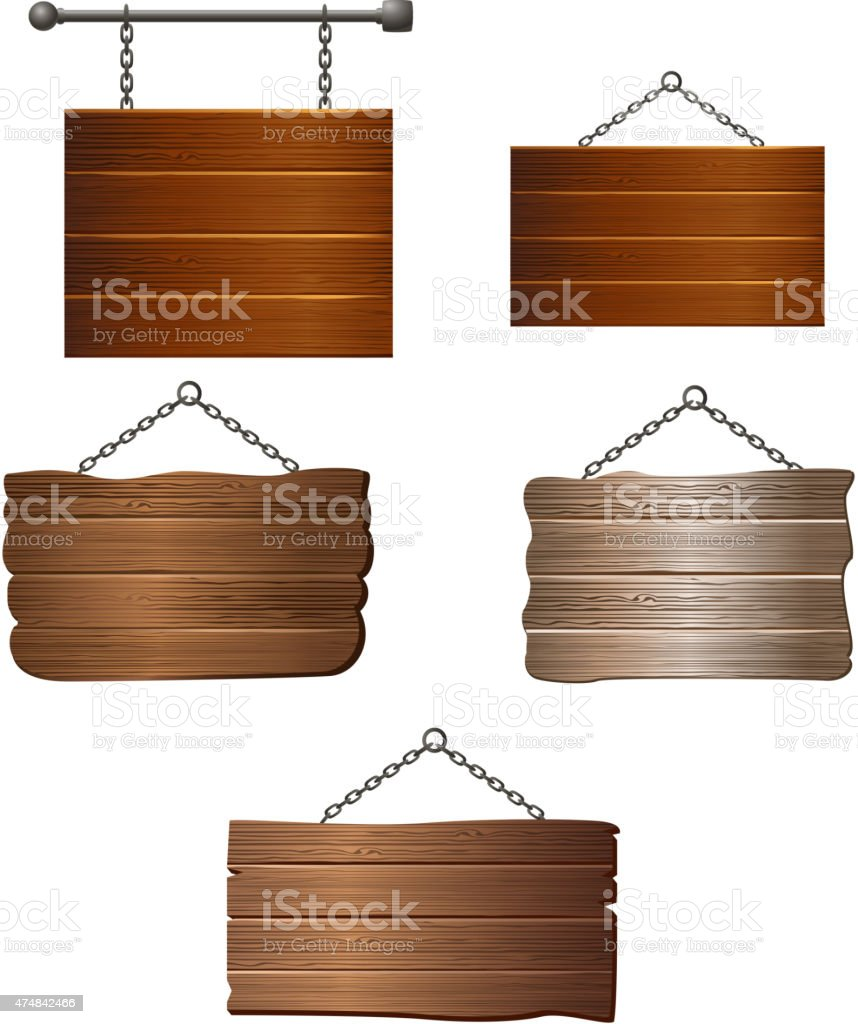 Wooden board collection vector art illustration