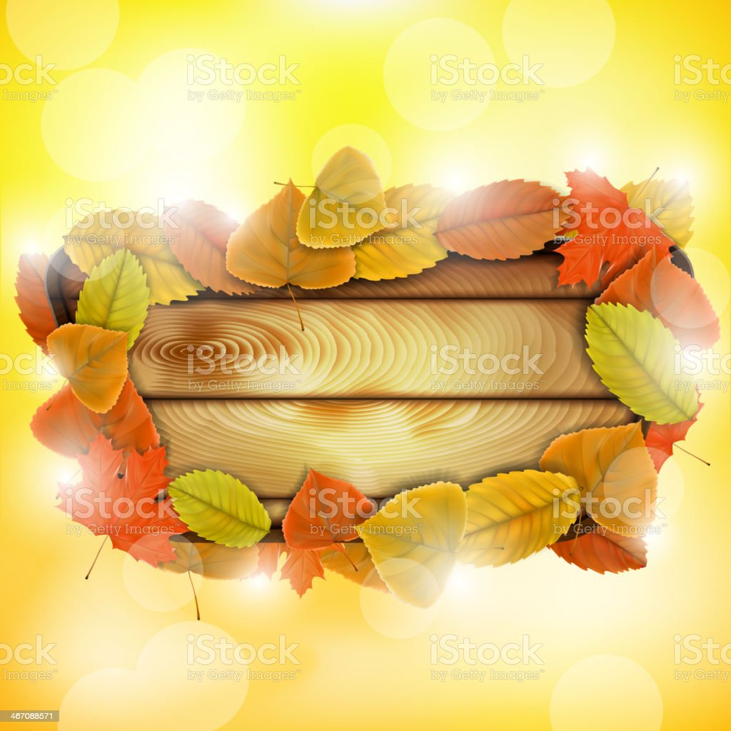 Wooden board with autumn colorful leaves royalty-free stock vector art