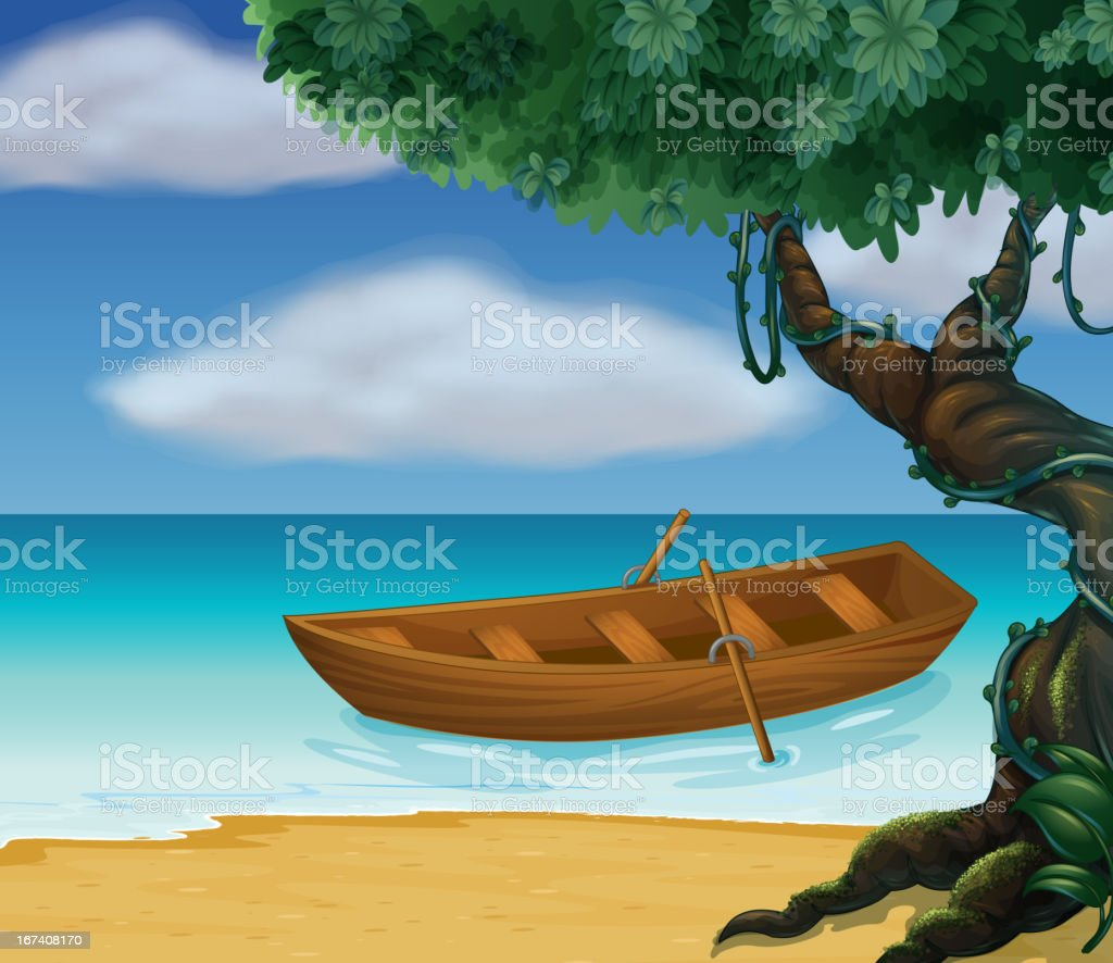 Wooden boat in the sea royalty-free stock vector art