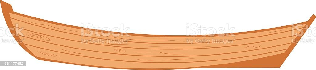 wooden boat on a white background. vector art illustration