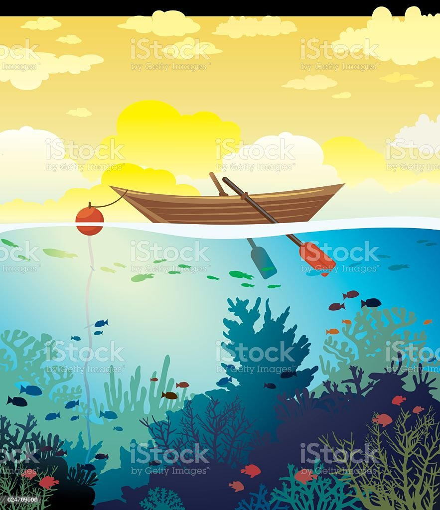 Wooden boat, sunset sky and underwater coral reef. vector art illustration