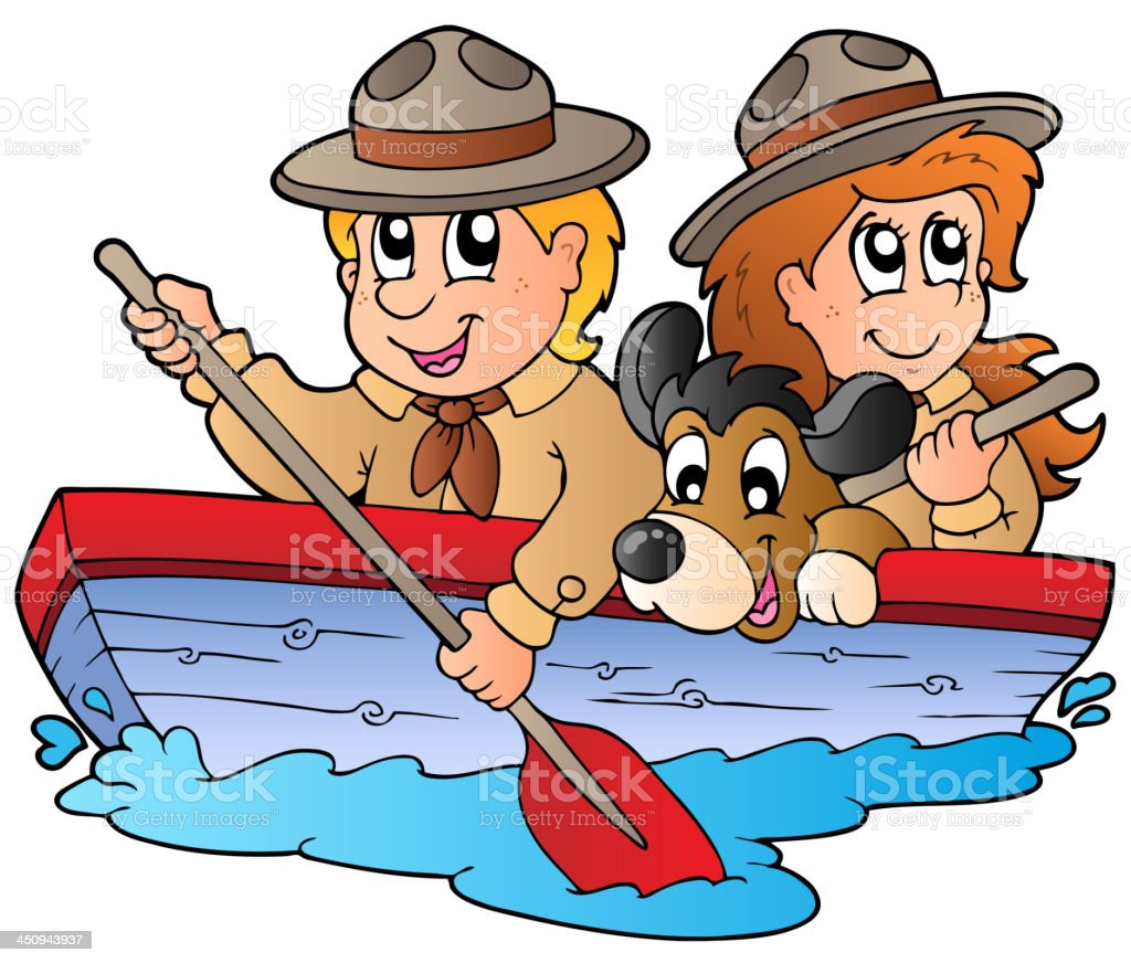 Wooden boat with scout boy and girl royalty-free stock vector art