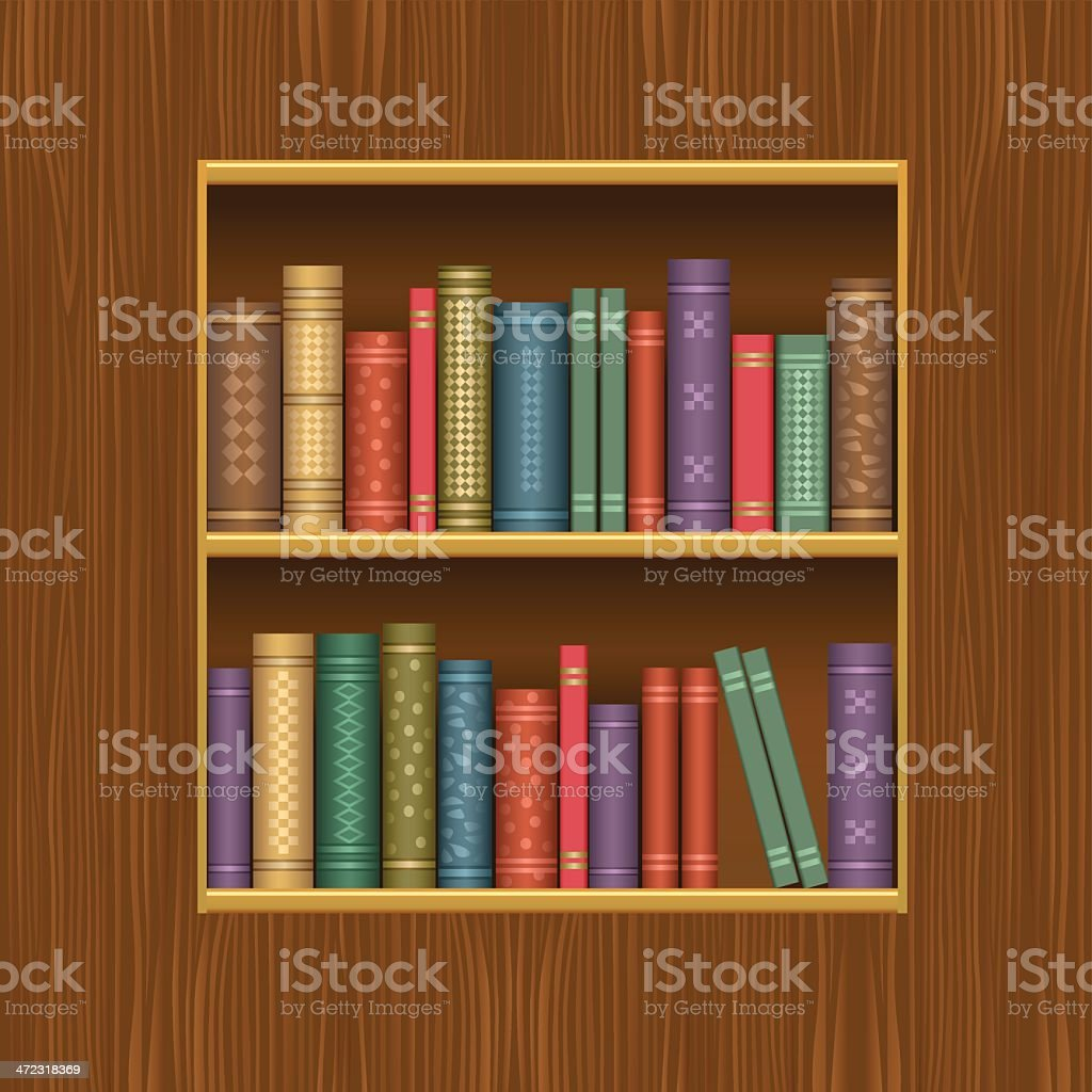 Wooden book shelf vector art illustration