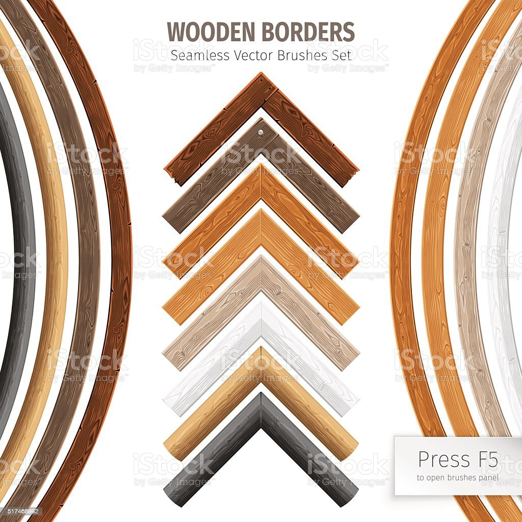 Wooden Borders Vector Brushes vector art illustration