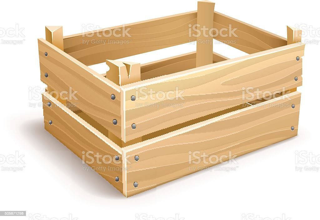 Wooden box for fruits and vegetables keeping vector art illustration