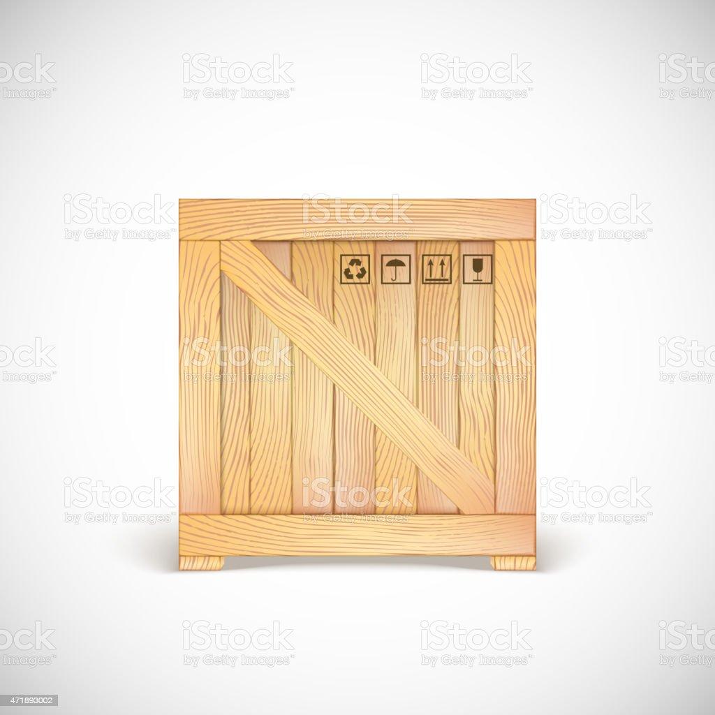 Wooden box isolated vector art illustration