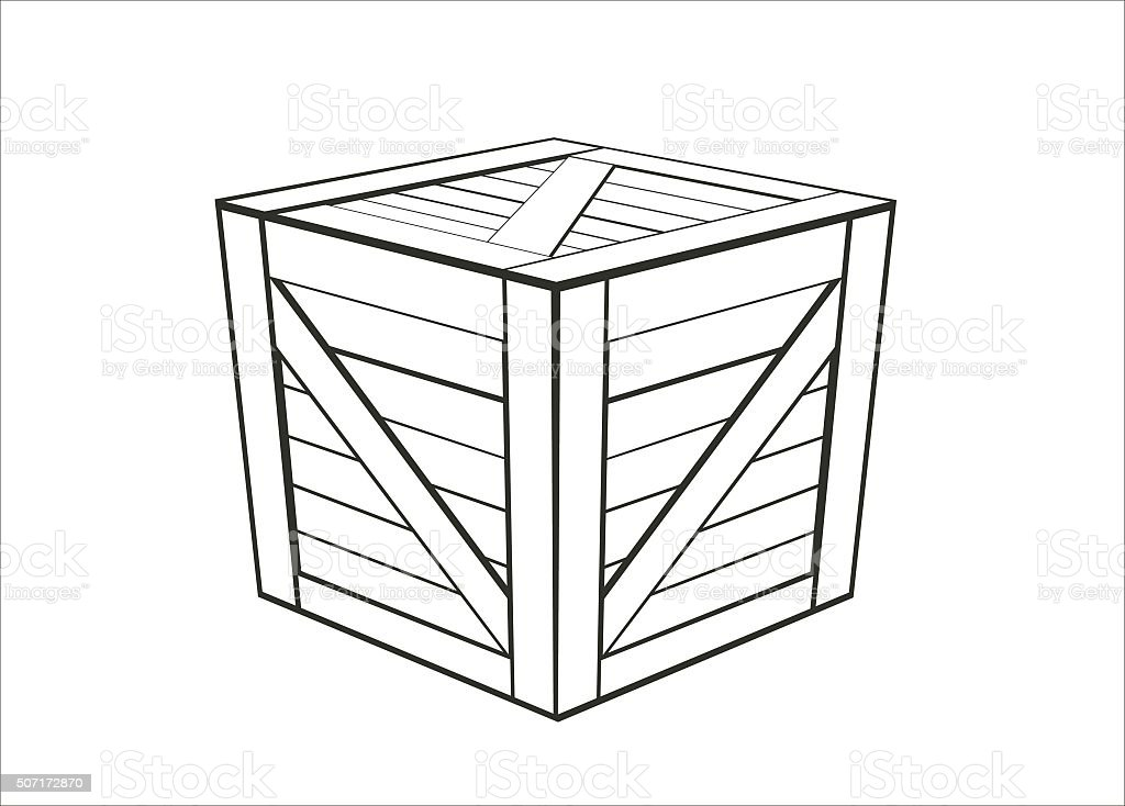 wooden box simple illustration vector art illustration