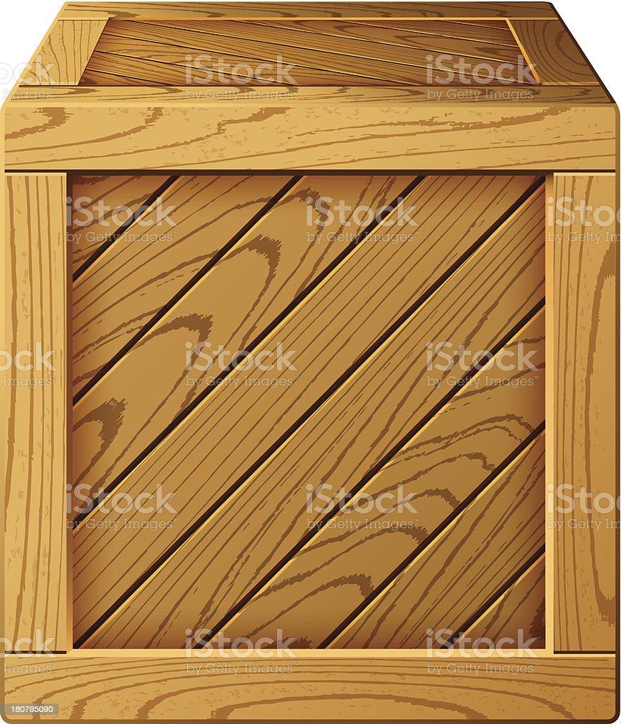 Wooden box vector art illustration