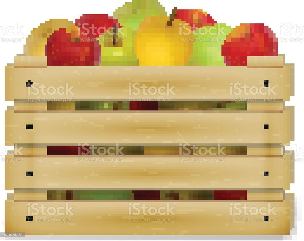 Wooden box with colorful apples vector art illustration