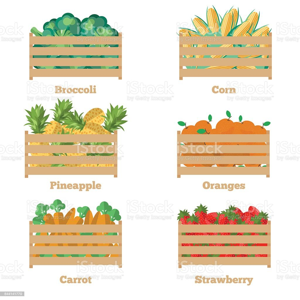 Wooden box with fruits and vegetables vector art illustration