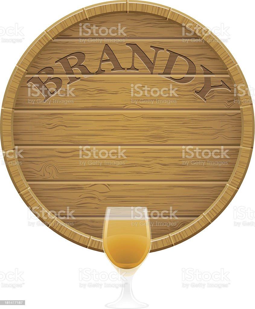 wooden brandy barrel and glass vector EPS10 illustration vector art illustration