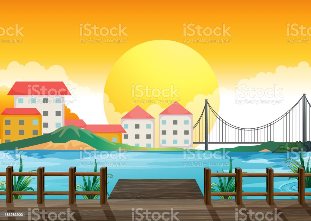 wooden bridge across the tall buildings royalty-free stock vector art
