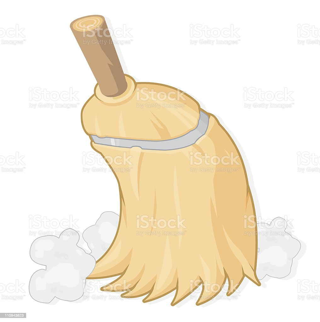 Wooden Broom Cleaning Dust and Dirt royalty-free stock vector art