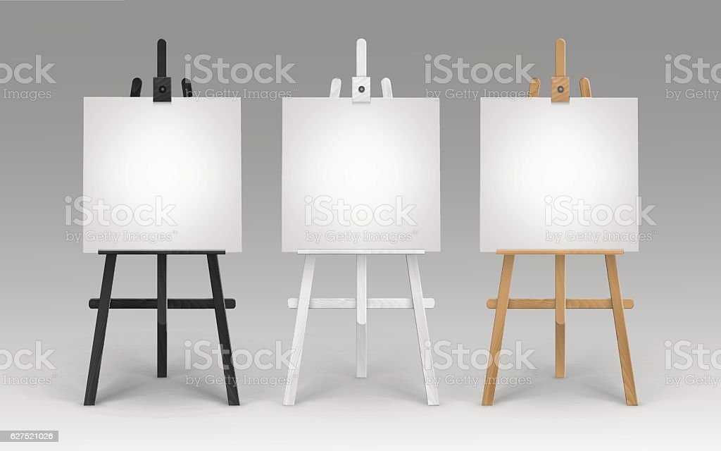 Wooden Brown Black White Easels with Canvases vector art illustration