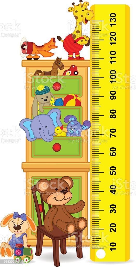 wooden cabinet with toys measure the child growth vector art illustration