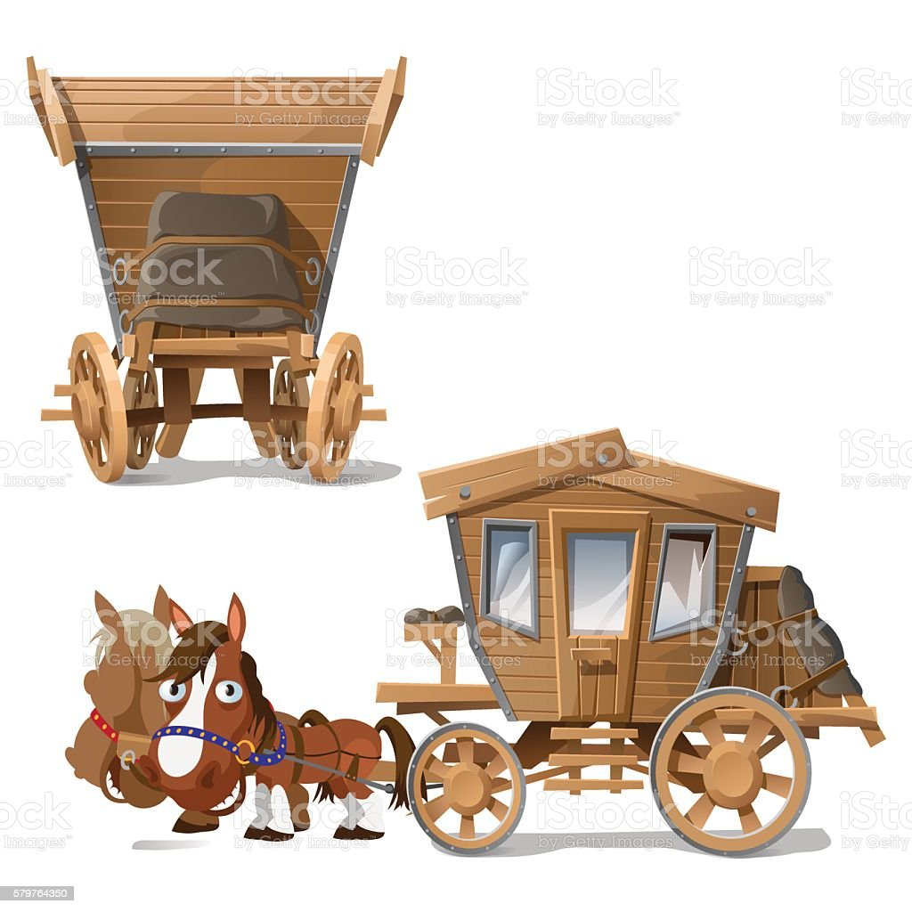 Wooden coach pulled by horses, two perspectives vector art illustration