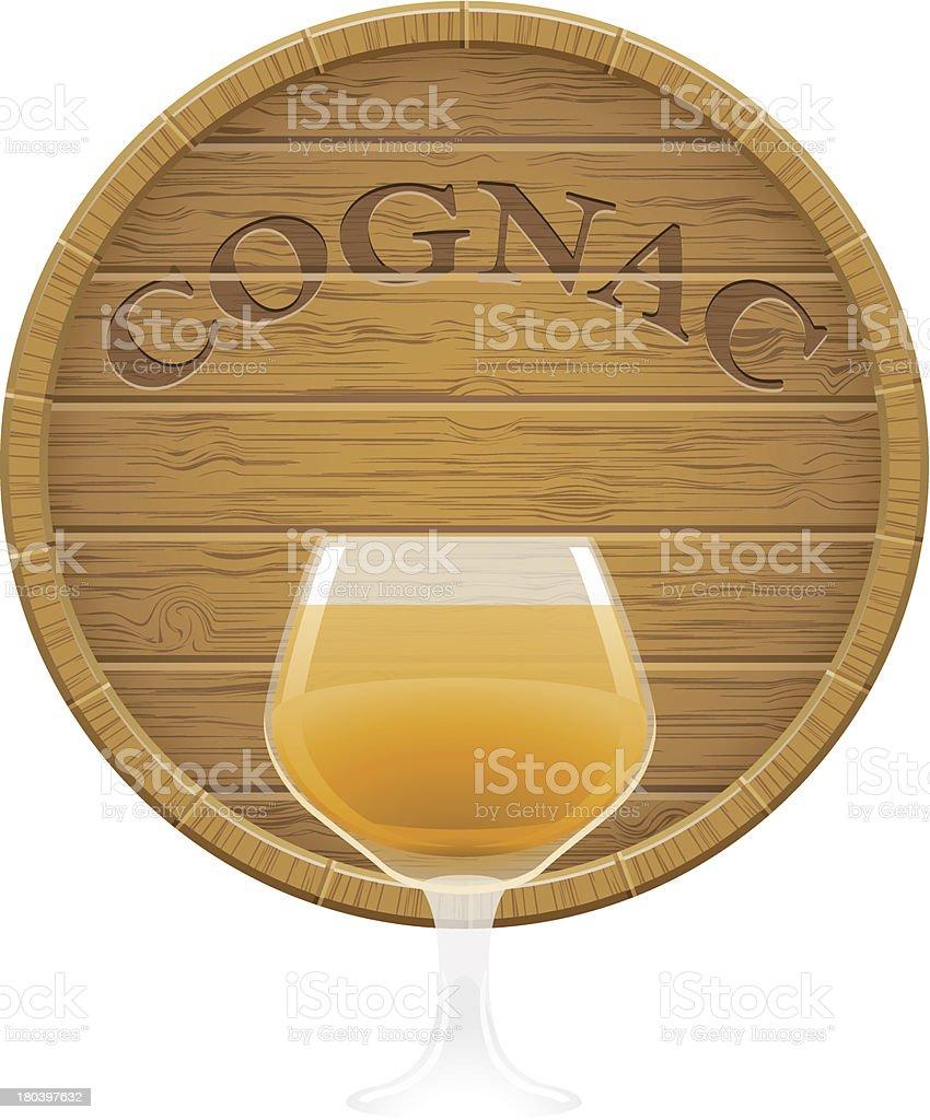 wooden cognac barrel and glass vector EPS10 illustration royalty-free stock vector art
