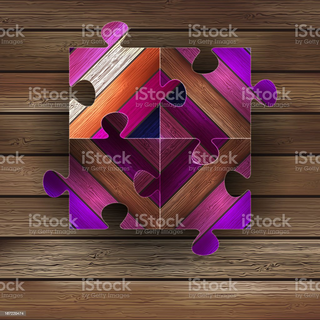 Wooden color puzzle background.  + EPS8 royalty-free stock vector art