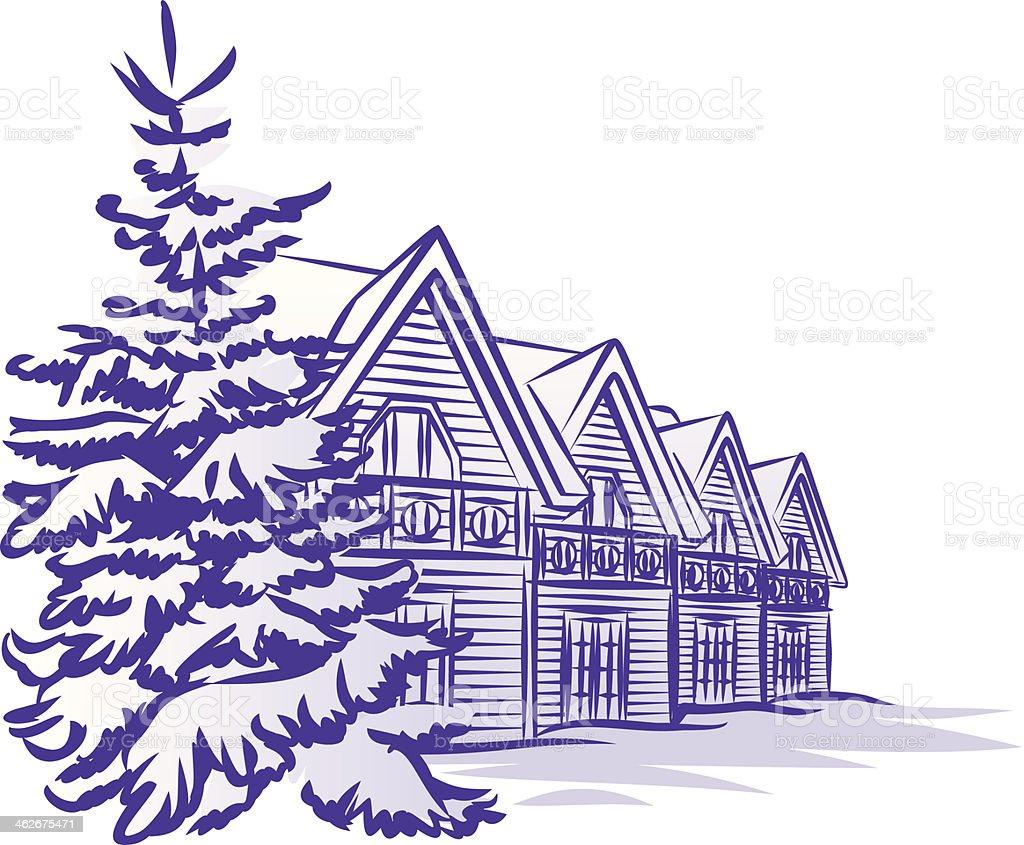 Wooden cottage in winter vector art illustration