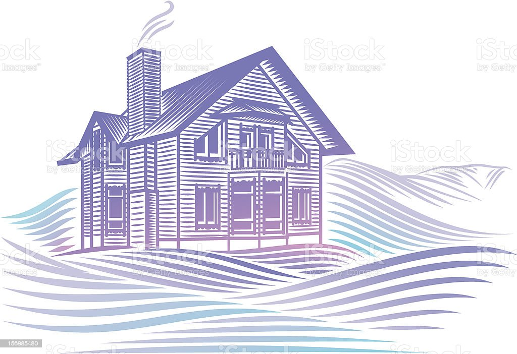 wooden country house in winter royalty-free stock vector art