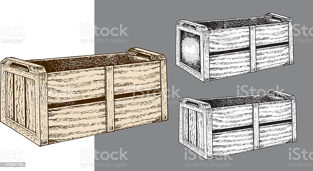 Wooden Crate - Box or Shipping Container royalty-free stock vector art