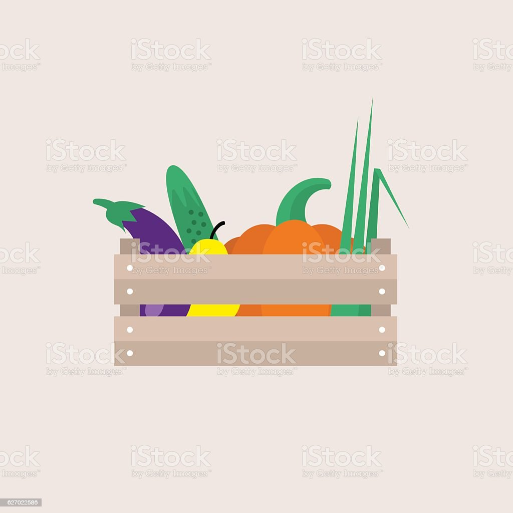 Wooden crate full of fruits and vegetables vector art illustration