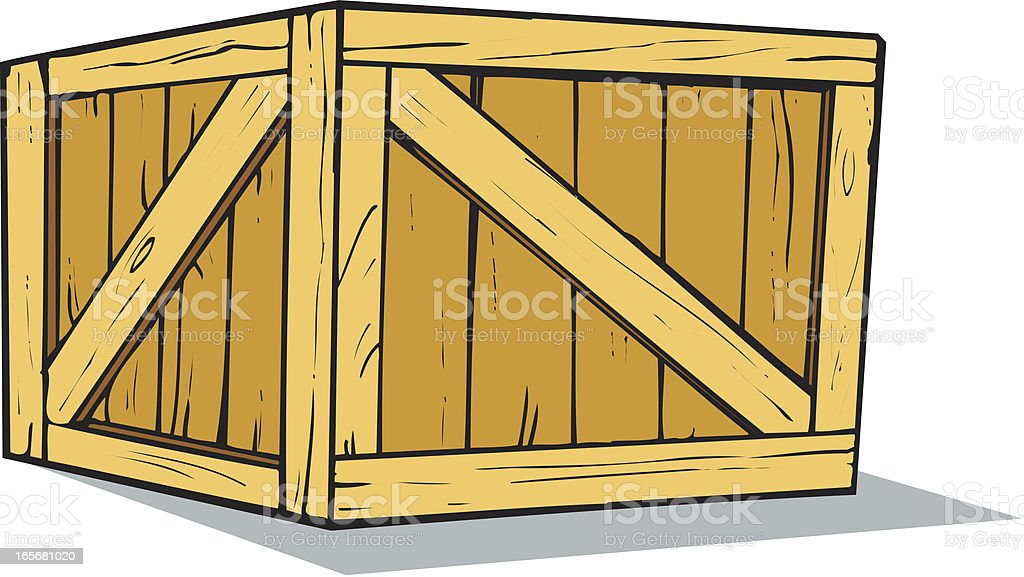Wooden Crate or Box Cartoon royalty-free stock vector art