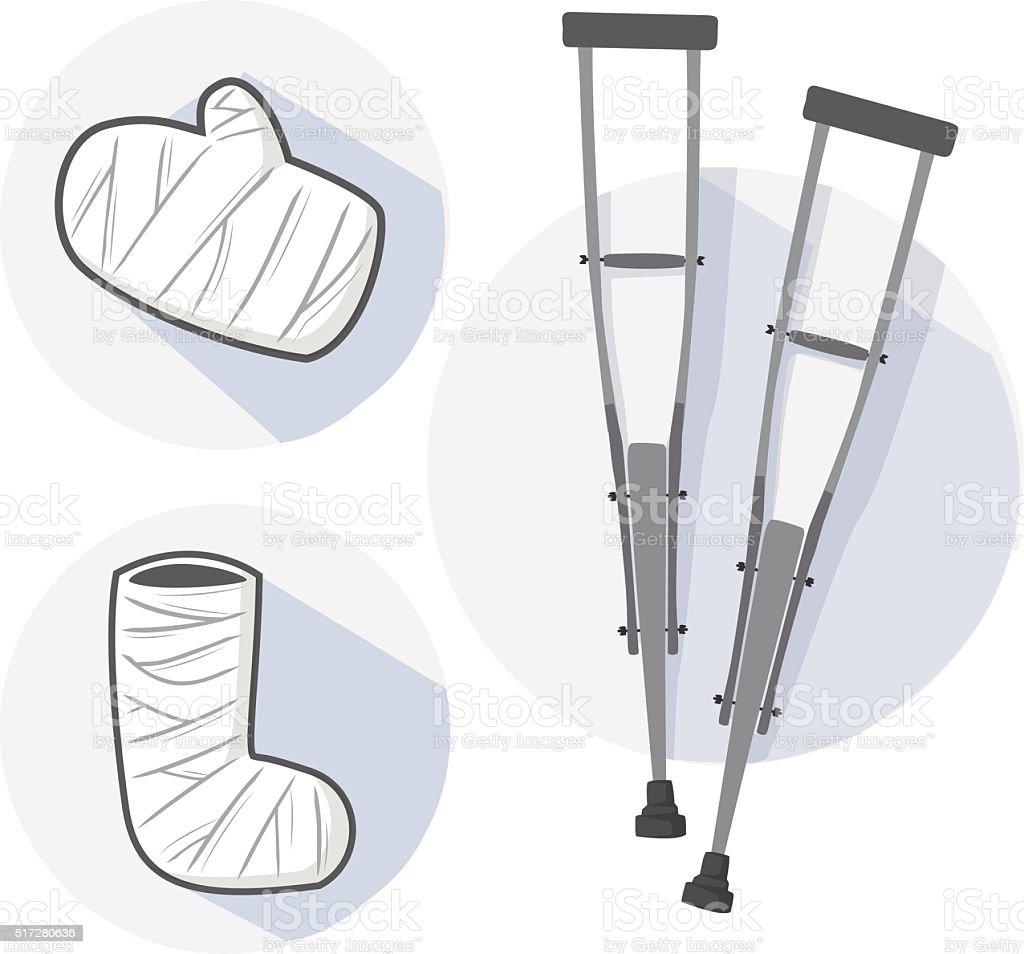Wooden crutch and splint vector vector art illustration